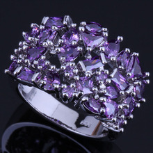Shiny Purple Cubic Zirconia 925 Sterling Silver Ring For Women V0584