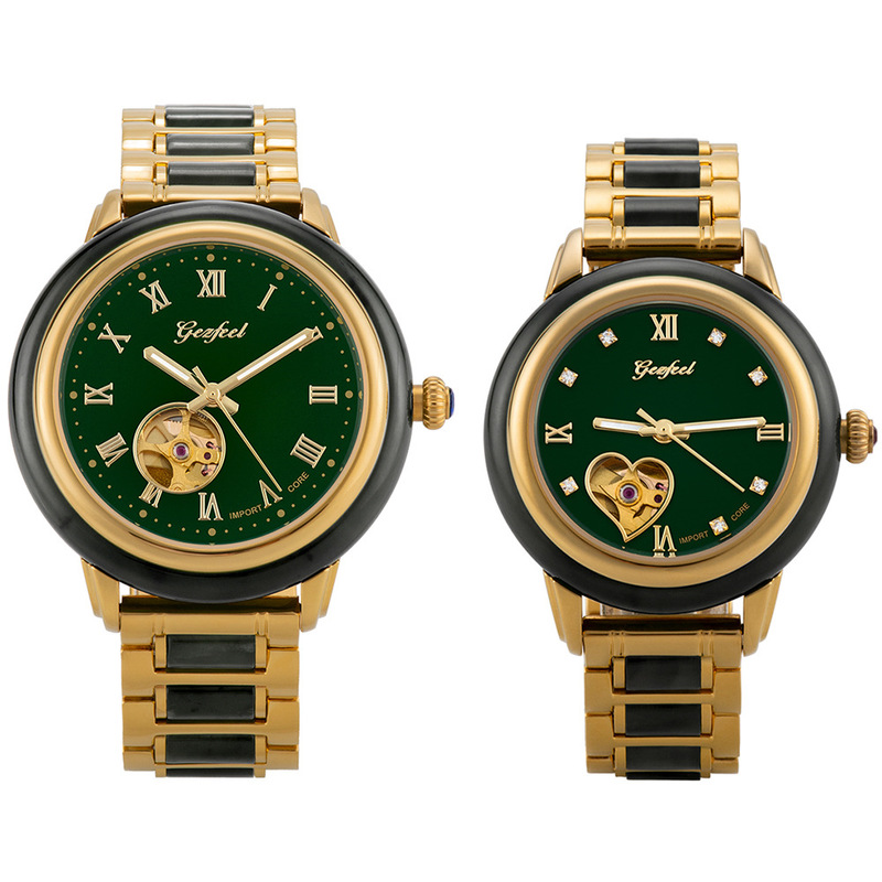 2019 Top Fashion Brand Hetian Watch Fashion Steel Jade Hollow Automatic Mechanical Couple Manufacturer On Behalf Of One