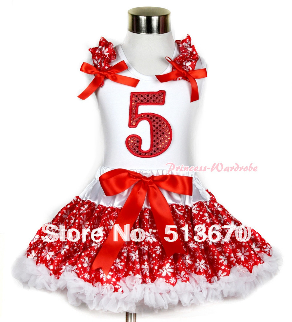Xmas White Tank Top 5th Sparkle Red Birthday Number Print Red Snowflakes Ruffles & Red Bow & Red Snowflakes Pettiskirt MAMG729 xmas white tank top 2nd sparkle red birthday number with red snowflakes ruffles