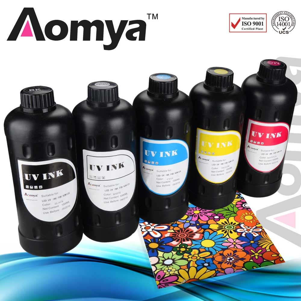 Aomya ink 12x1000ml Real UV Curable ink/ uv led ink for Printing On Ceramic/Paper/Metal/Glass/Leather/Wood/PVC 12 meters 8 strand uv ink tube for all printers using uv ink free shipping