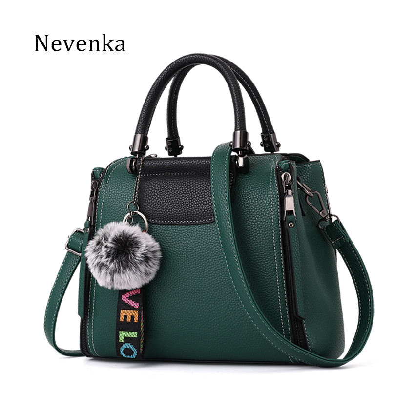 NEVENKA Women Bag Female Casual Shoulder Bag Lady Fashion Solid Color Handbag Women's Zipper Hairball Design Message Bags Baobao fashion rivets and solid color design women s shoulder bag