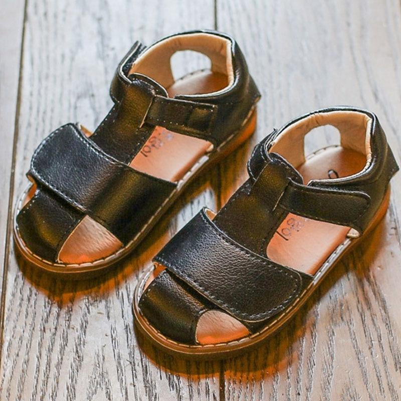 New Summer Children Soft Beach Sandals Cute Girls Boys Breathable Tipsietoes Sandals Kids Black White Flats Sandals Size 21-30