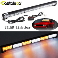Castaleca Car Daytime Driving Lightbar 24 LED Emergency Warning Flashing Light Police Strobe Fog Lamp Waterproof 12V Amber White