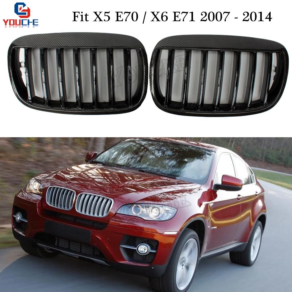E70 E71 Carbon Fiber Front Bumper Grills Kidney Grille for BMW X5 E70 X6 E70 SUV 2007 2014 Replacement Gloss Black Grid