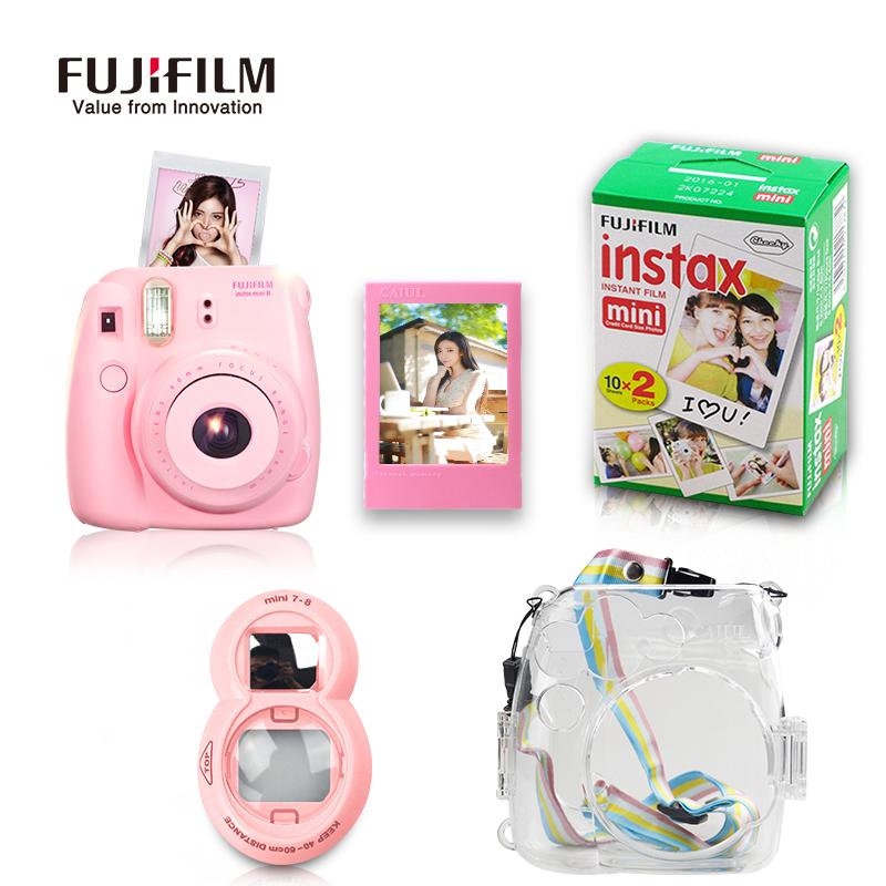 Prix pour Fujifilm instax mini 8 instant film caméra + transparent en plastique protéger sac + close up lens + fuji film 20 feuilles avec cadeaux