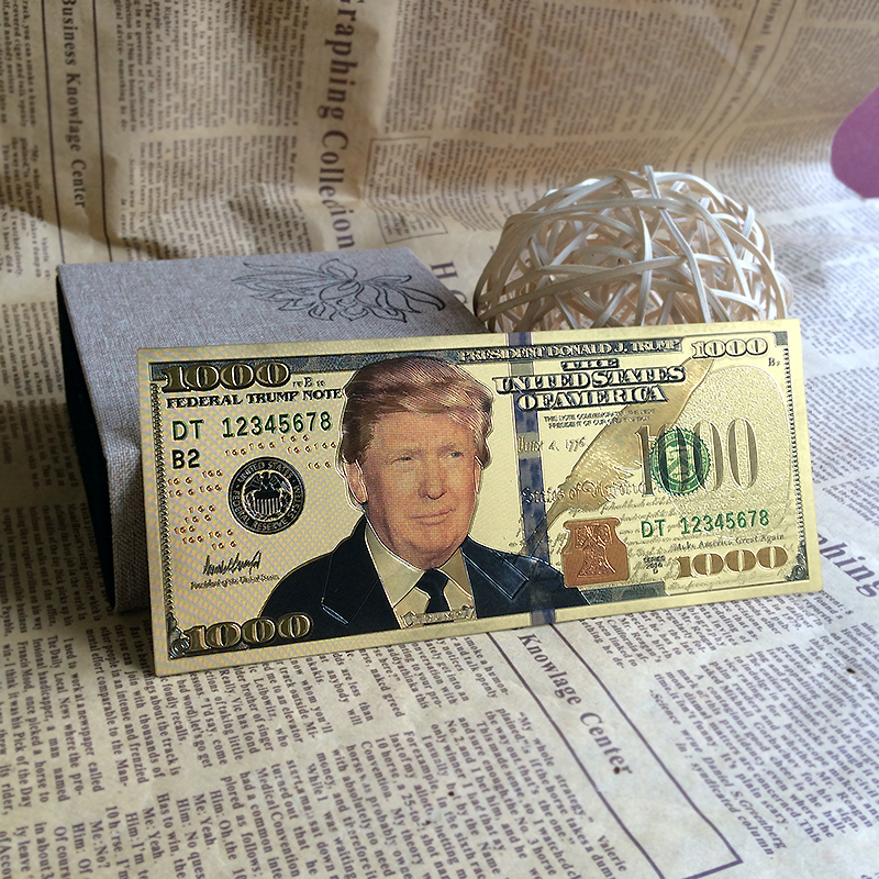 New crafts gift plastic cards American fake money gold plated Trump ...