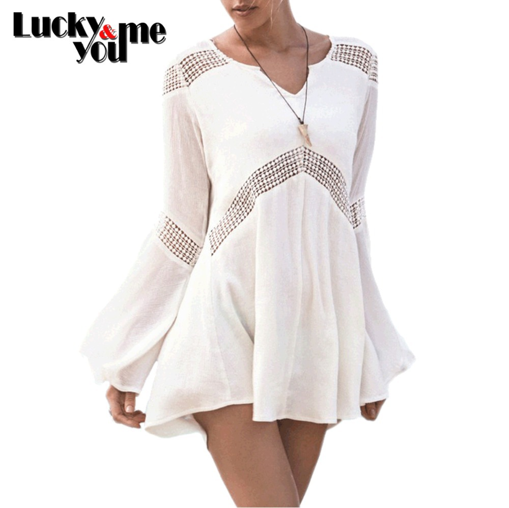 2020 <font><b>Summer</b></font> <font><b>Women</b></font> New <font><b>Hot</b></font> <font><b>Sexy</b></font> <font><b>Bikini</b></font> Cover Up White Cotton Fabric Swimwear Girls Beach Wear Hollow Out Long Sleeve Tunic Dress image