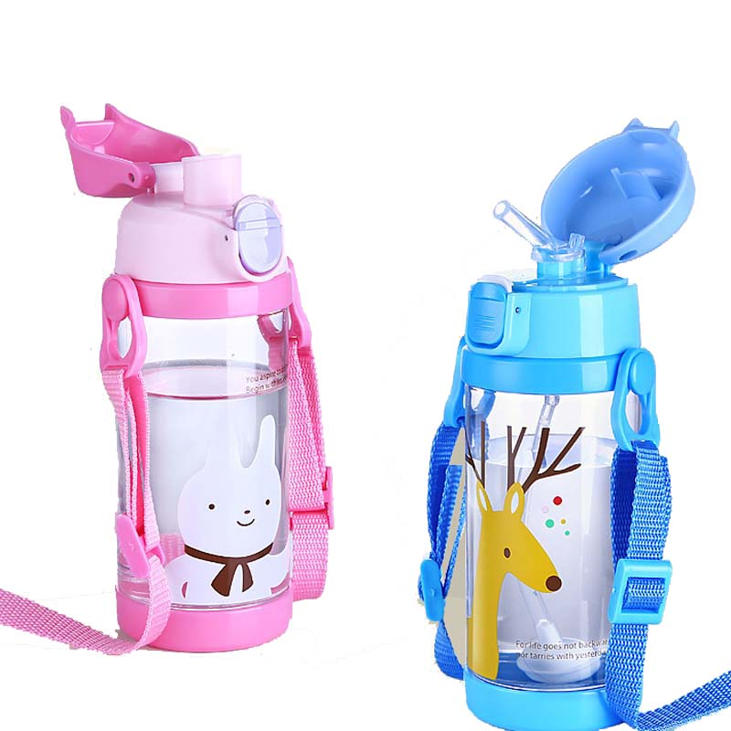 350ml Tritan <font><b>Baby</b></font> Feeding Bottle With Straw for kids Leak-<font><b>poof</b></font> learn drinking Water Feeding bottle Milk Cup with 2 Lids BPA free image