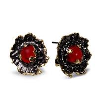 De Color negro y Oro Pendientes de Ajuste con Bonita Fiesta de piedra Roja Pendientes Antialérgicas Joyería El Envío libre