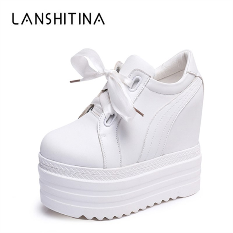 New Spring 2018 Women 14CM High Heels Casual Shoes Wedges Platform Women Shoes Chaussure Summer Height Increasing White Pumps 2018 new spring women single shoes women pumps women high heels classics pu basic casual shoes