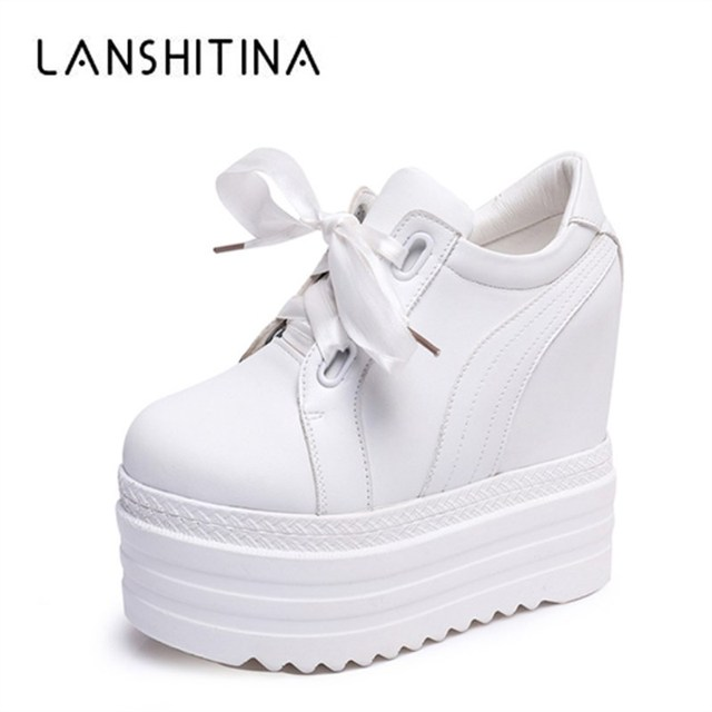9f98ac473a21 New Spring 2018 Women 14CM High Heels Casual Shoes Wedges Platform Women  Shoes Chaussure Summer Height Increasing White Pumps