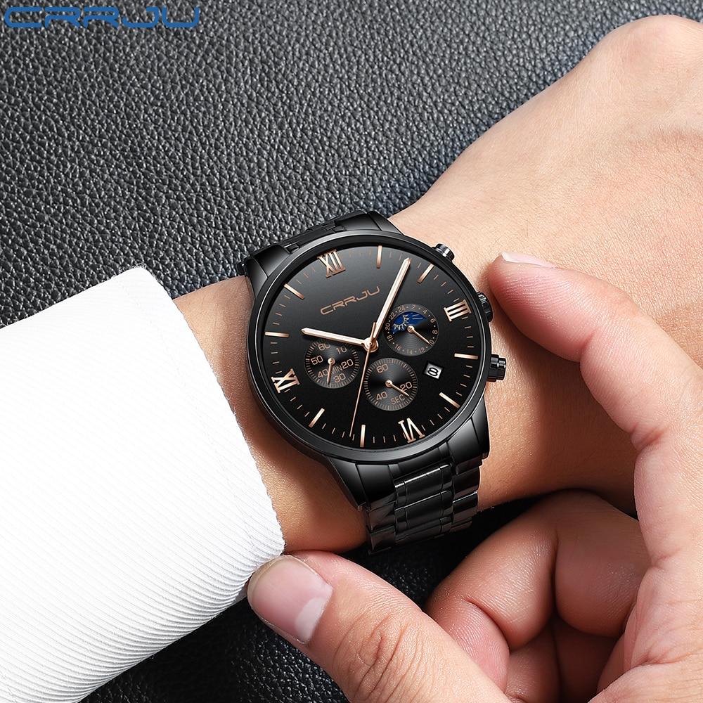 0c901b76b2e Mens Relógios 24 Horas E Cronógrafo de Quartzo Relógio de Pulso Para Homens  CRJU Malha de Aço Ocasional Relógio Masculino Presente Reloj Hombres relógio  em ...