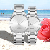 Lorinser 2019 Lover Watches SWISS movement Waterproof Women Couples Watches Female Wristwatches Quartz Men Full steel Male Clock