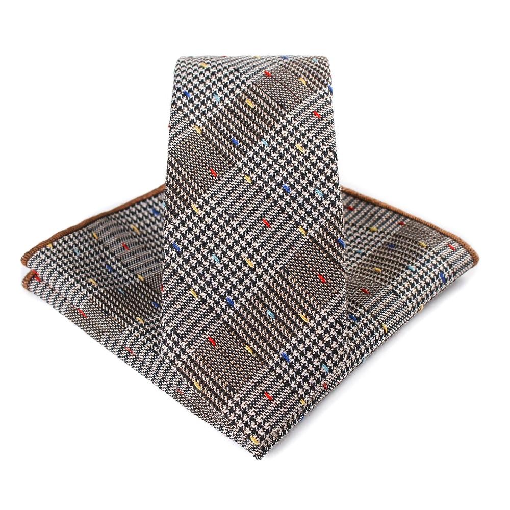 Bridegroom Wedding Business Men Tuxedo Suit Khaki Brown Houndstooth Embroidery Pocket Square Towel Handkerchief Necktie Tie Set in Men 39 s Ties amp Handkerchiefs from Apparel Accessories