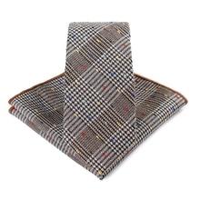 Bridegroom Wedding Business Men Tuxedo Suit Khaki Brown Houndstooth Embroidery Pocket Square Towel Handkerchief Necktie Tie Set