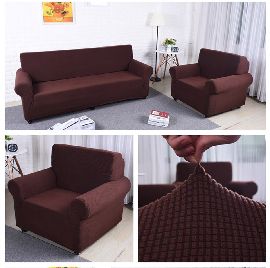 Strange Solid Color Slipcover Polar Fleece Elastic Couch Cover Elastic Full Sofa Cover 1 2 3 4 Seater Stretch Pillow Case Chair Covers Couch Slipcover Ncnpc Chair Design For Home Ncnpcorg