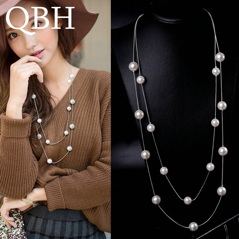 Pendant Necklace Chain Simulated-Pearl-Charm Women Jewelry Statement Long Double-Layers