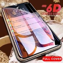 Esvne 6d vidro de proteção no para iphone 6s 7 8 plus xr x xs vidro capa completa iphone xs max protetor de tela vidro temperado