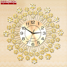 Geekcook Europe Quartz Wall Clock Art Rich Flowers Wall Clocks Modern Design Living Room Mute Wall Watch Needle Clock Wall