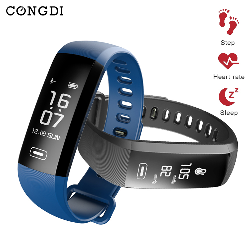 congdi R5PRO Smart Bracelet IP67 Fitness Tracker Watches Band Heart Rate Monitor Step Counter Alarm Clock Wristband for <font><b>tezer</b></font> image