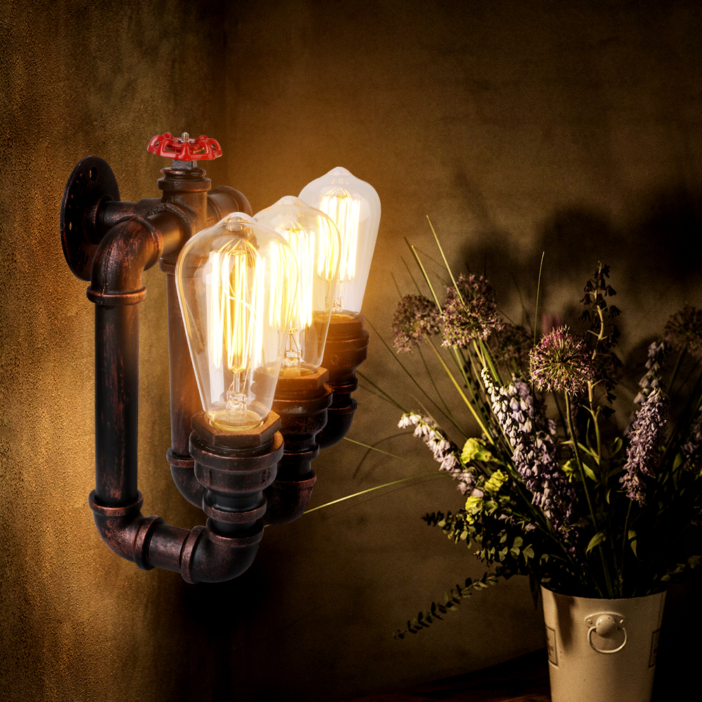 Vintage Retro Nodic Loft Wall Lamp Waterpipe Style Rust Color Iron Material 3 Heads E27 Bulb Lighting AC110V-250V Wall Sconces рубанок kolner kep 800