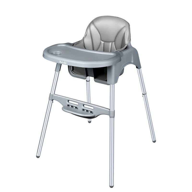 Portable Baby Chair Foldable Adjustment High Chair With Plate Feeding Chair Aluminum Alloy Frame Leather Cushion For 0-4 T Baby baby highchair foldable high chair for kids adjustable feeding chair with pu leather cushion dining table with wheels