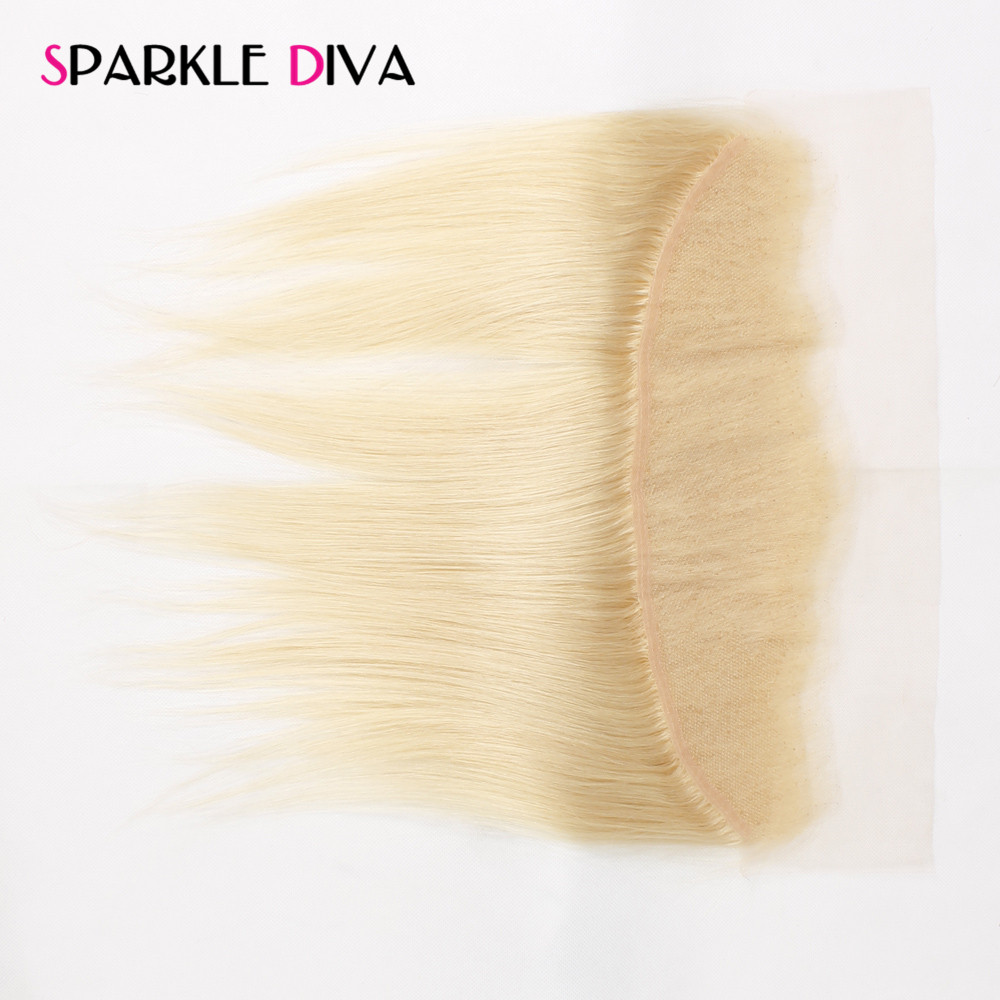 [SPARKLE DIVA HAIR] Straight 613 Blonde Lace Frontal Closure Brazilian Non-Remy Human Hair 13*4 Bleached Knots with Baby Hair