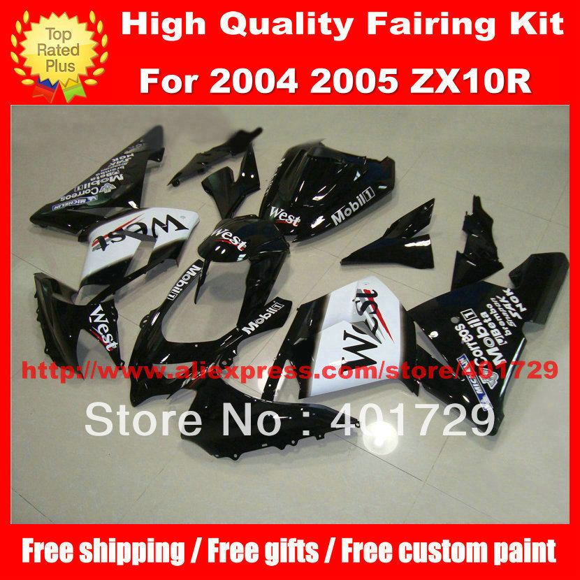 Motorcycle bodywork for Ninja WEST free custom paint racing fairing kit ZX10R 04 05 ZX-10R 04 05 parts 2004 2005 black white