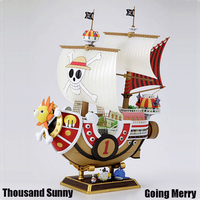 Big Anime Figure ONE PIECE Ship Thousand Sunny Going Merry Pirate Boat Puzzle Assemble Model Toy Building Blocks