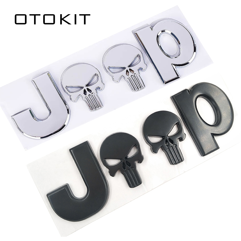 3D Metal Chrome Auto Car Stickers 4 Drive Skull Emblem Badge Decals Car Body Sticker Accessories For Jeep Cherokee Car Styling
