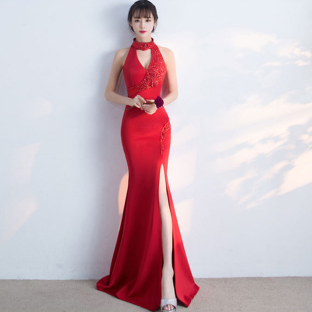 Red Bride Wedding Cheongsam Fashion Sexy Evening Dress Traditional