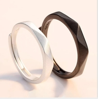 Couple Ring 925 Sterling Silver Frosted Section Shape Black White Fashion Jewerly for Women Men Adjustable Size