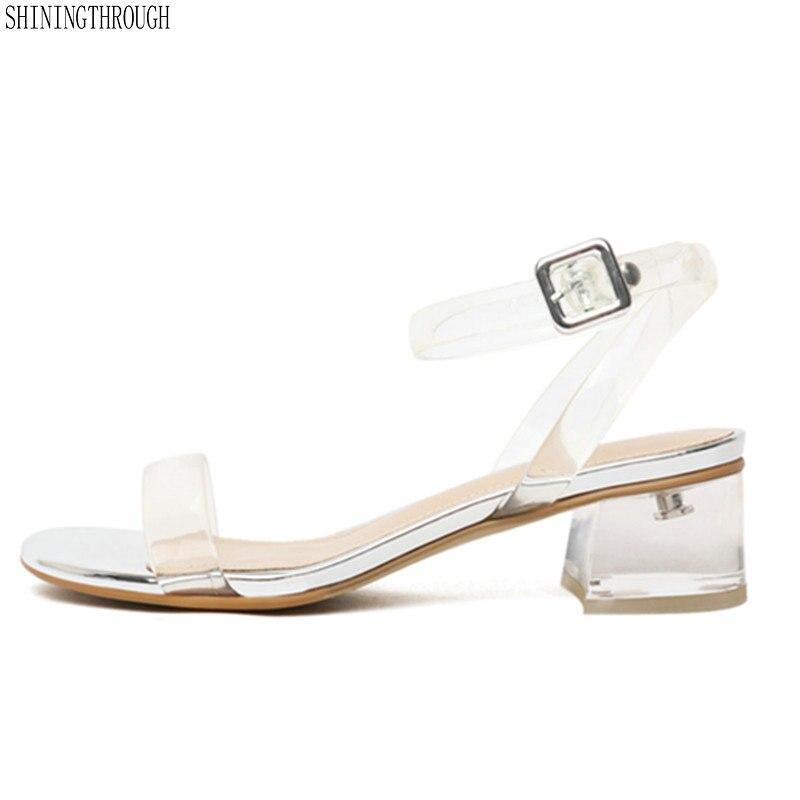 large size 43 high heels women sandals transparent woman shoes ladies party dress shoes woman size