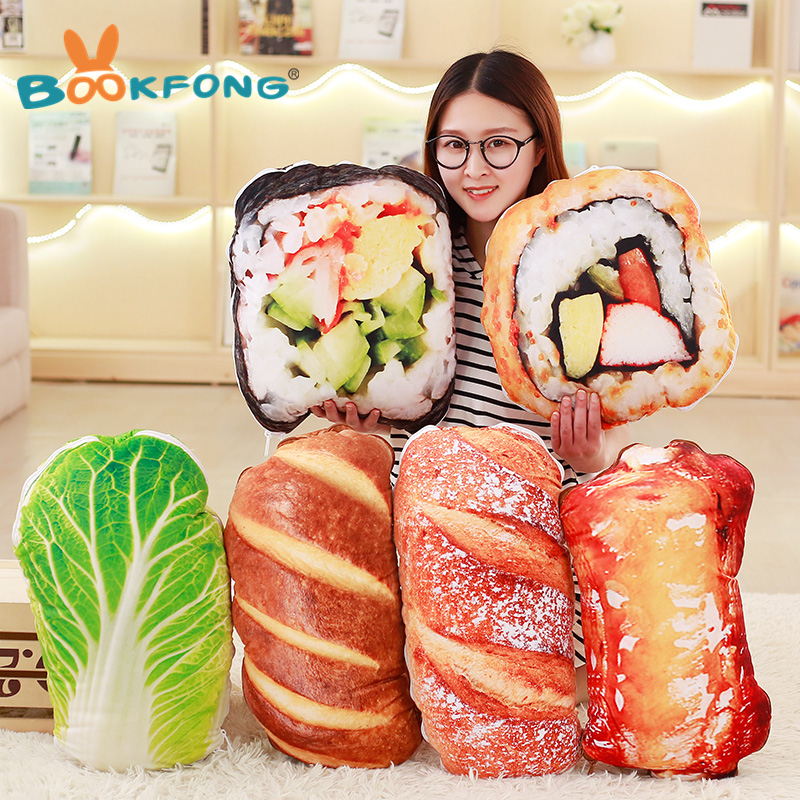 BOOKFONG 1PC New Novelty Toy Simulated Sushi Bread Food Pillow Plush Toy Creative Soft 2 IN 1 Pillow Quilt Gift Toys 1pcs 52 26cm creative novelty item funny women big mouth shape cushion pink red lip plush toy throw pillow for couch pregnancy