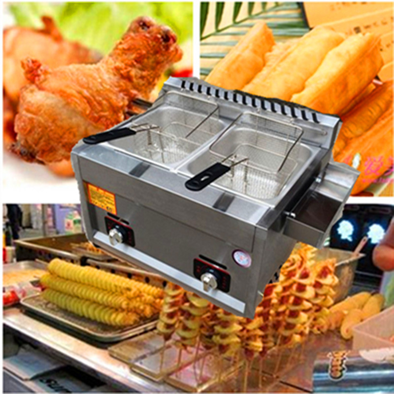Gas type fryer commercial deep fried potato chips chicken tornado potato twister potato double-cylinder fryer machine  ZF  220v 12l electric deep fryer for spiral potato twister potato tornado potato fry potato churros chicken
