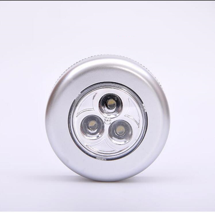 Creative round 3LED touch night light car tail box pat light wardrobe cupboard lamp self adhesive wc emergency light by 3 AAA in LED Night Lights from Lights Lighting
