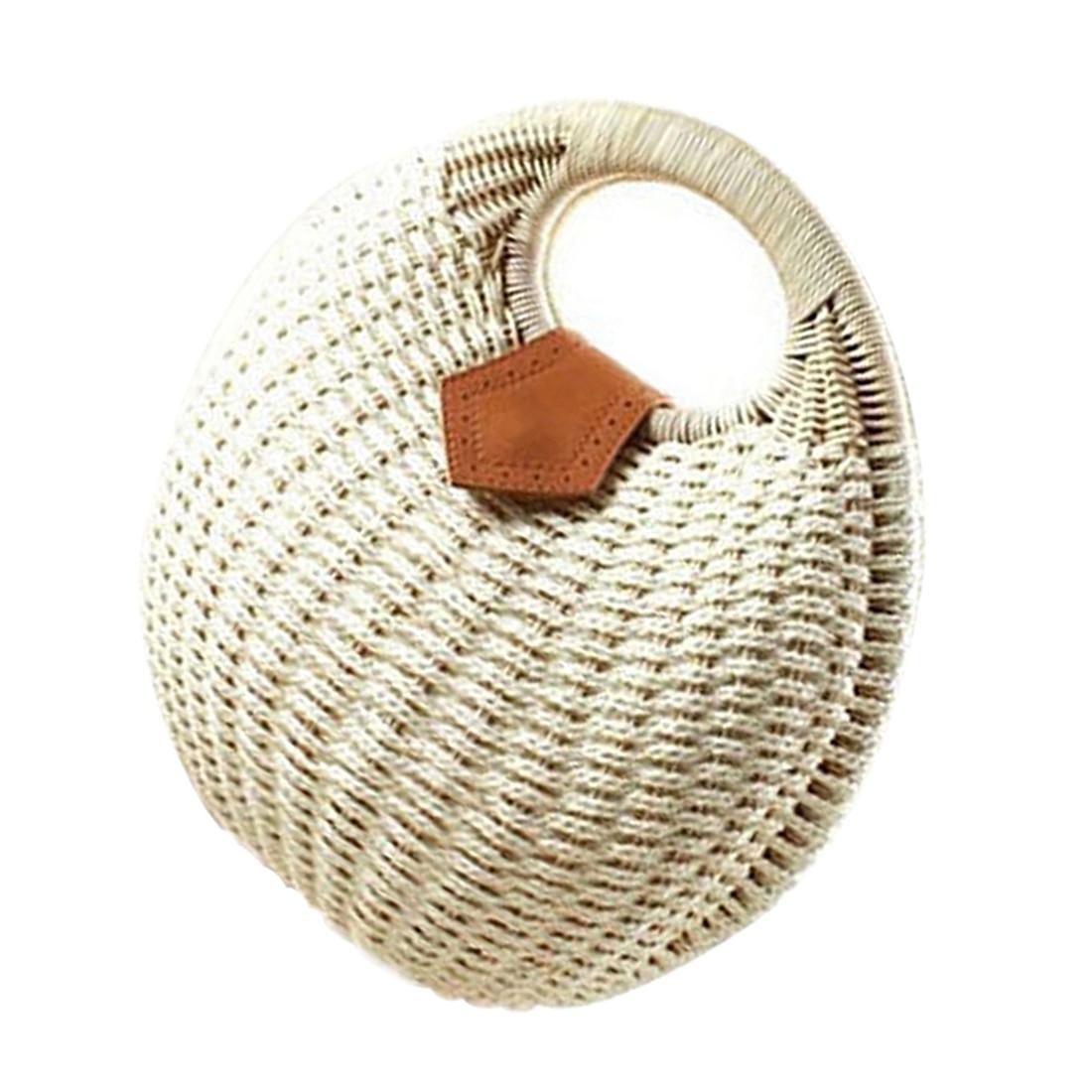 FGGS-Snails Nest Tote Handbag Summer Beach Bags Woman Straw Bags Womens Handbag Rattan Bag