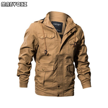 Air Force One Military Hooded Men Jacket Autumn Winter Jackes and Coats Army Pilot Washable Cargo Hoodie 100% Cotton