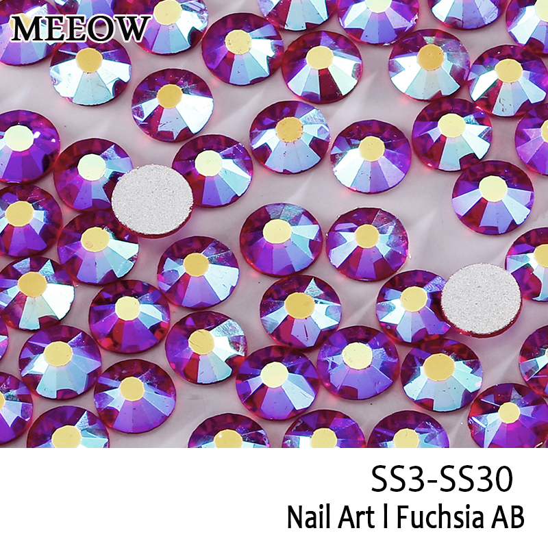 Glass Rhinestones SS3-SS30 Fuchsia AB Nail Art Rhinestones With Round Flatback For Nails Art Cell Phone And DIY  Accessories ss3 ss30 jet black ab nail art rhinestones with round flatback for nails art cell phone and wedding decorations
