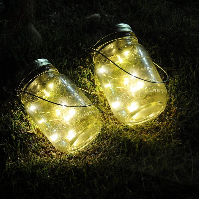 Battery Operated Mason Jar Insert LED Light String DIY Copper Fairy Strip  Wire Outdoor Garden Tree