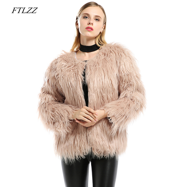 ea760e1dd US $34.56 25% OFF FTLZZ Winter Warm Women Faux Fur Coats Elegant Female  Cardigan Coat Plus Size 3xl White Thick Faux Fur Jacket Outerwear-in Faux  Fur ...