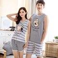 Бесплатная доставка пара пижамы установить лето мужчины и женщины без рукавов пижамы жилет любителей пижамы пижамы домашняя одежда