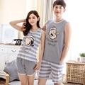 O envio gratuito de homens e mulheres casal pijamas set verão roupas sem mangas pijama colete amantes pijamas roupa em casa