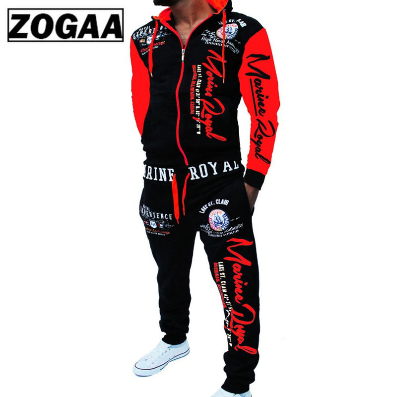 ZOGAA Men Track Suit Hooded Jacket Sweatsuit Mens Sports Suits brand New Sportwear Men Jogger Set Printed Tracksuit Men Clothes in Men 39 s Sets from Men 39 s Clothing