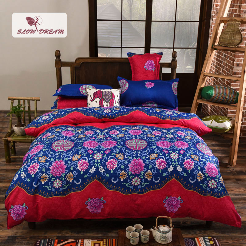 SlowDream Bohemia Style Rich Peony Red And Blue Bedding Set Fashion Comfortable Home Textiles Printing Duvet Cover Bedspreads