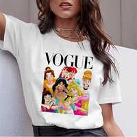 Mulheres Verão 2019 Camiseta Gráfica Femme Princesa Engraçado Vogue Harajuku Camiseta Topos Coreano Kawaii Streetwear Camiseta Mujer