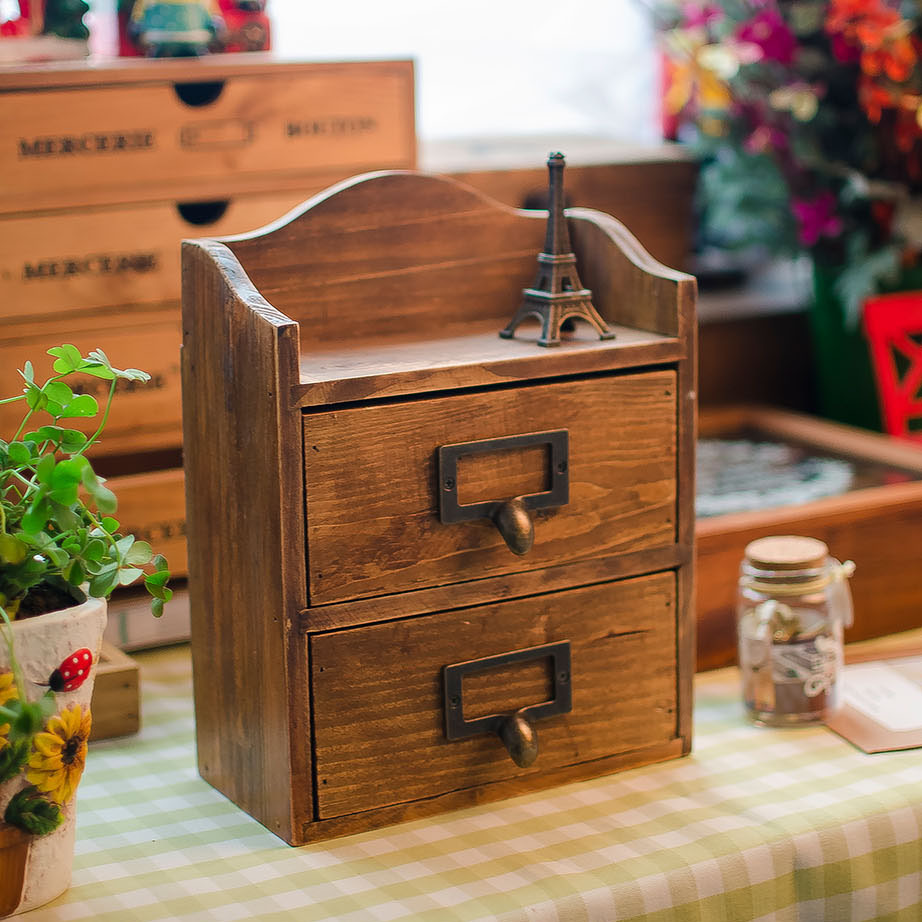 Creative Home Wooden Crafts Old Wooden Box 2 Drawer Ornaments Modern Minimalist Home Decoration Accessories