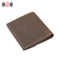 Vintage Genuine Leather Men S Card Holder Purse RFID Blocking Leather Wallets For Men Solid Hasp