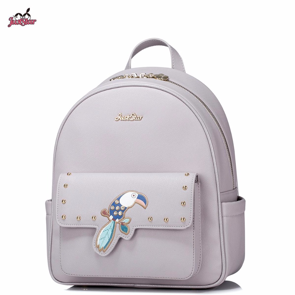 School bag embroidery - 2017 New Just Star Brand Design Fashion Embroidery Parrot Rinestone Rivet Pu Leather Women Girls Backpack