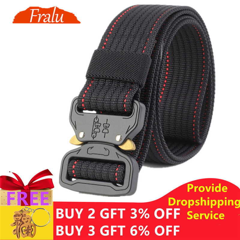 FRALU New Tactical   Belt   Military Nylon   Belt   Men Army Style   Belt   Automatic Metal Buckle Cinturon Quality SWAT Waist Strap Hunting